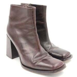 VIA SPIGA Brown Leather Ankle Boot Square Toe